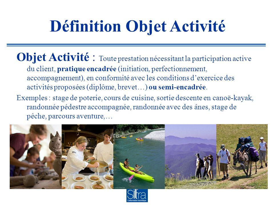 Définition Objet Activité Objet Activité : Toute prestation nécessitant la participation active du client, pratique encadrée (initiation, perfectionne