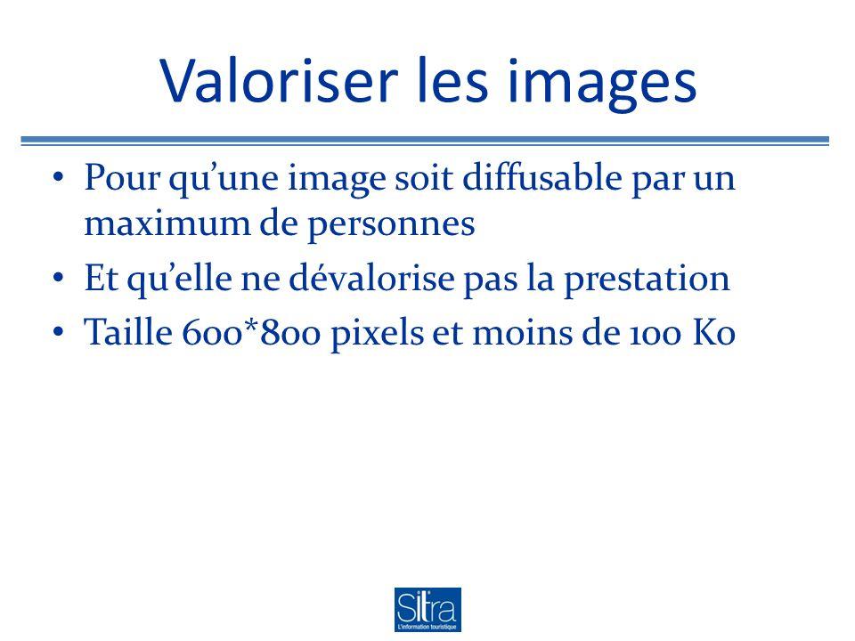 Valoriser les images Pour quune image soit diffusable par un maximum de personnes Et quelle ne dévalorise pas la prestation Taille 600*800 pixels et moins de 100 Ko