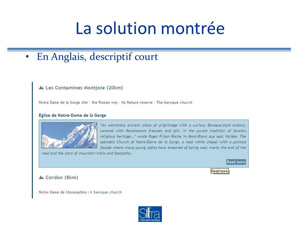 La solution montrée En Anglais, descriptif court