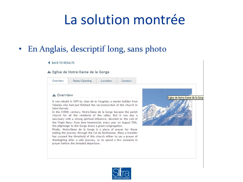La solution montrée En Anglais, descriptif long, sans photo