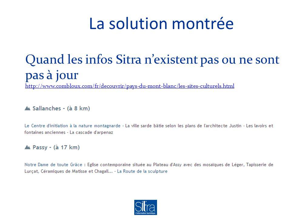 La solution montrée Quand les infos Sitra nexistent pas ou ne sont pas à jour http://www.combloux.com/fr/decouvrir/pays-du-mont-blanc/les-sites-culturels.html http://www.combloux.com/fr/decouvrir/pays-du-mont-blanc/les-sites-culturels.html