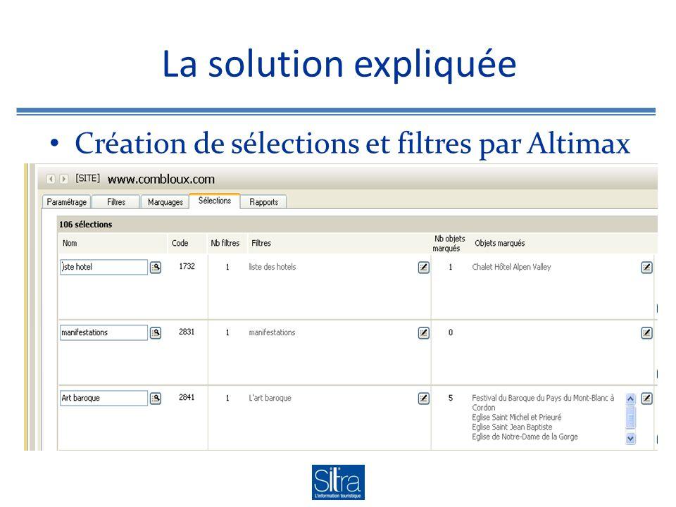 La solution expliquée Création de sélections et filtres par Altimax