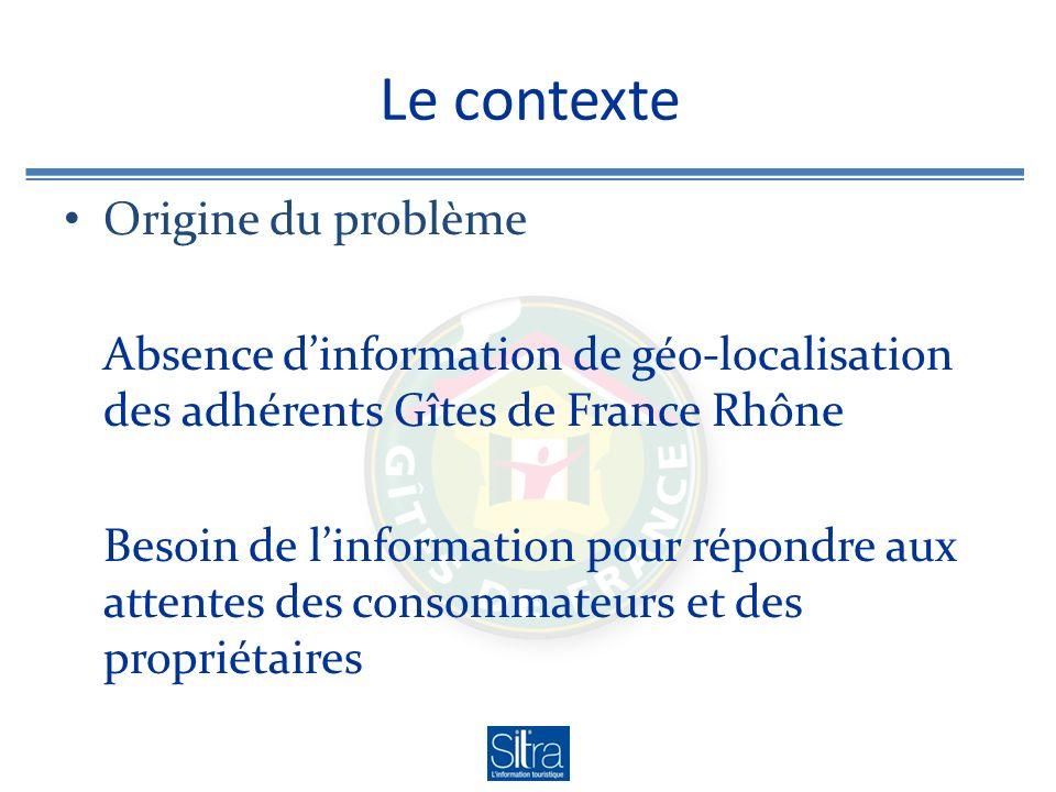 Le contexte Origine du problème Absence dinformation de géo-localisation des adhérents Gîtes de France Rhône Besoin de linformation pour répondre aux