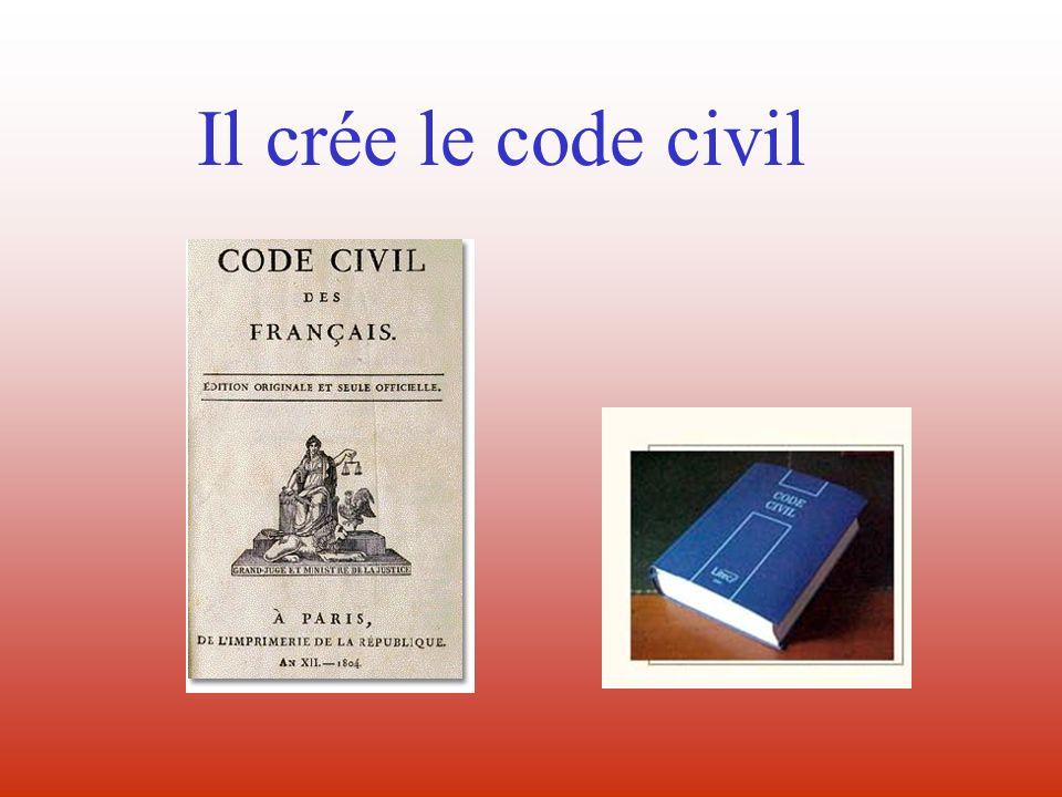 Il organise une administration centralisée avec des Préfets pour chaque département Il réforme la justice Il crée la Banque de France avec le franc