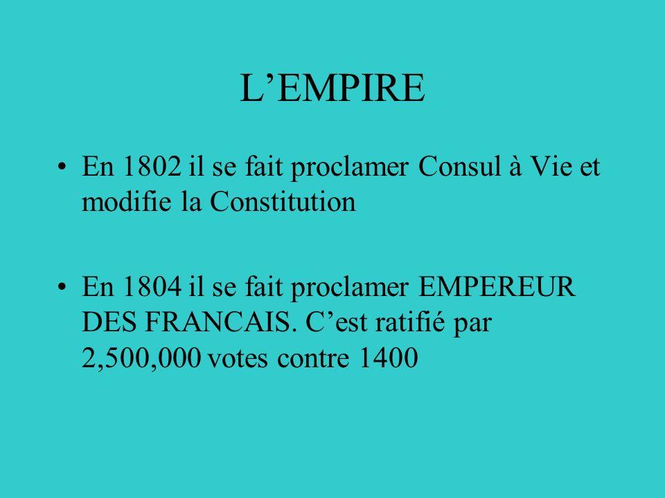 LE NOUVEAU REGIME Les émigrés reviennent Bonaparte signe un Concordat avec le Pape Il met fin à la guerre extérieure Il a beaucoup dinfluence et est très populaire