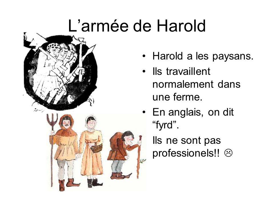 Larmée de Harold : Harold a les soldats professionels. En anglais, on dit housecarls.