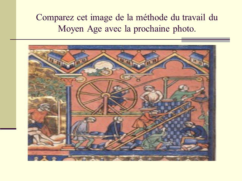 Comparez cet image de la méthode du travail du Moyen Age avec la prochaine photo.