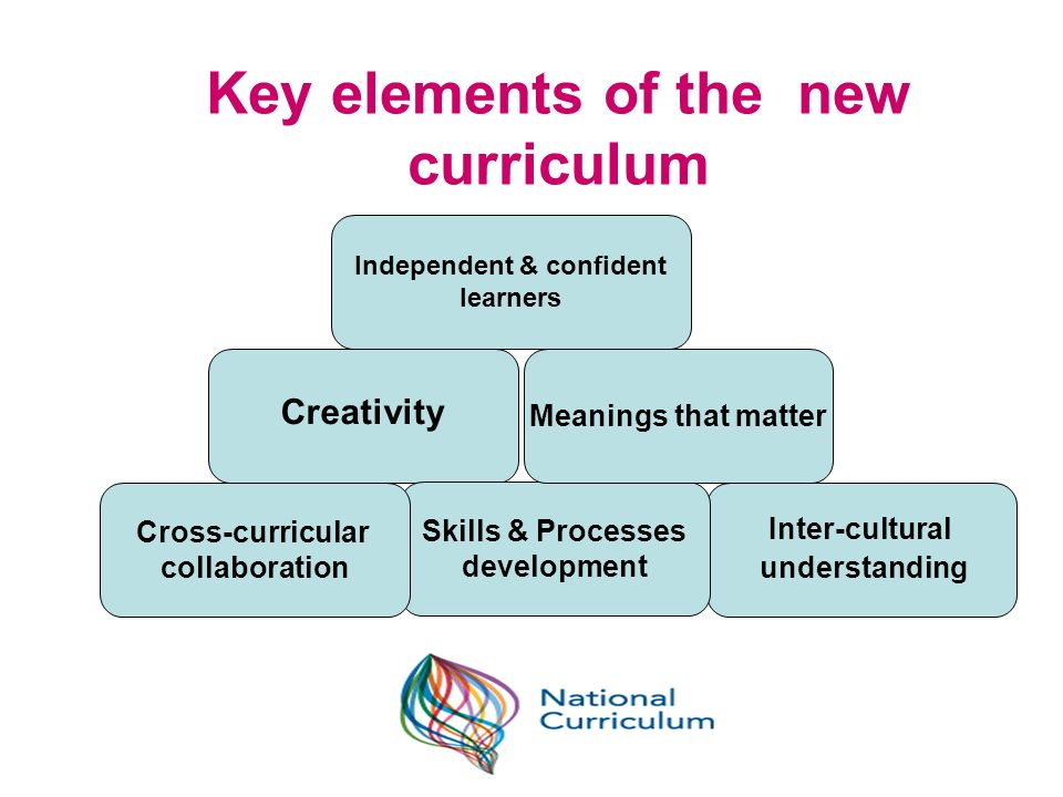 Key elements of the new curriculum Independent & confident learners Creativity Inter-cultural understanding Skills & Processes development Cross-curri