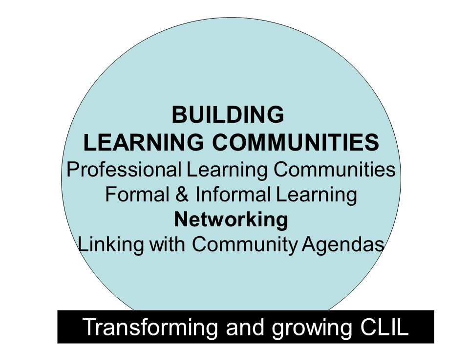 BUILDING LEARNING COMMUNITIES Professional Learning Communities Formal & Informal Learning Networking Linking with Community Agendas Transforming and