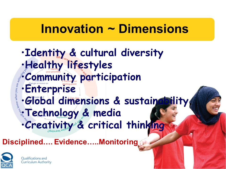 Innovation ~ Dimensions Identity & cultural diversity Healthy lifestyles Community participation Enterprise Global dimensions & sustainability Technol