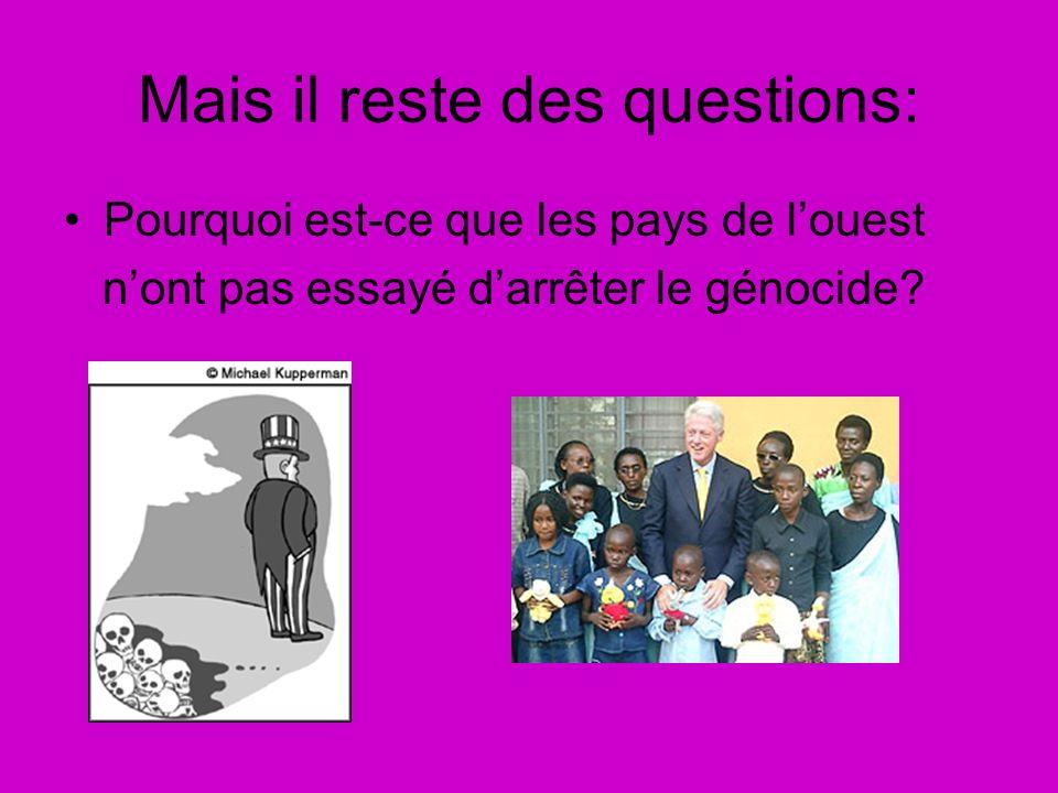 Mais il reste des questions: Pourquoi est-ce que les pays de louest nont pas essayé darrêter le génocide?