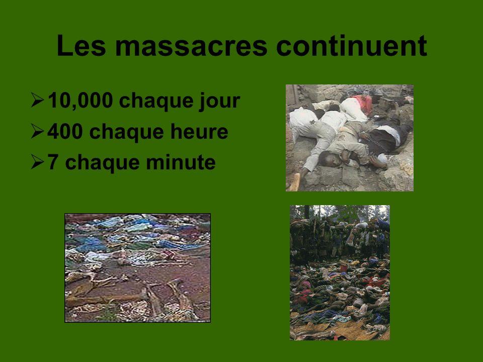 Les massacres continuent 10,000 chaque jour 400 chaque heure 7 chaque minute