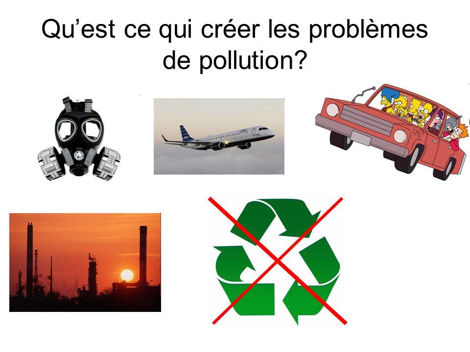 Quest ce qui créer les problèmes de pollution?
