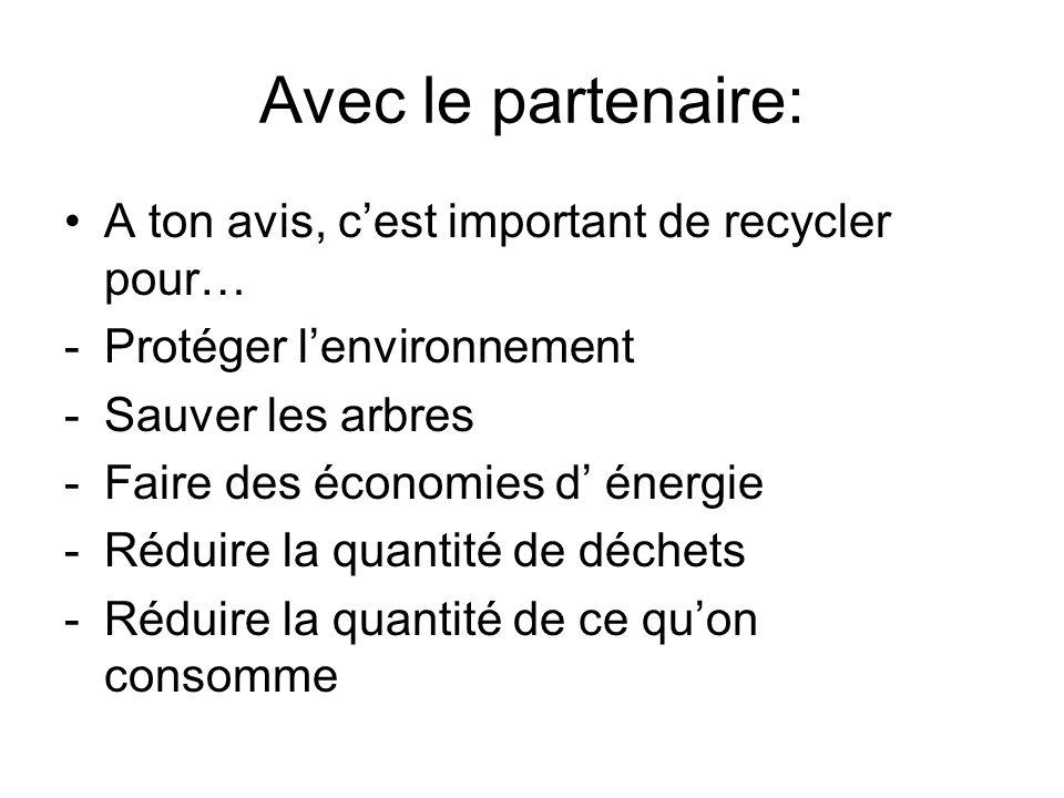 Avec le partenaire: A ton avis, cest important de recycler pour… -Protéger lenvironnement -Sauver les arbres -Faire des économies d énergie -Réduire la quantité de déchets -Réduire la quantité de ce quon consomme