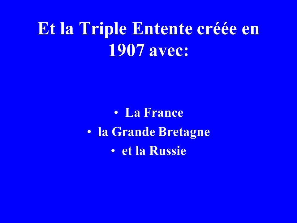 La Triple Alliance (la Triplice) formée en 1882 avec: LAllemagne lAutriche-Hongrie et lItalie
