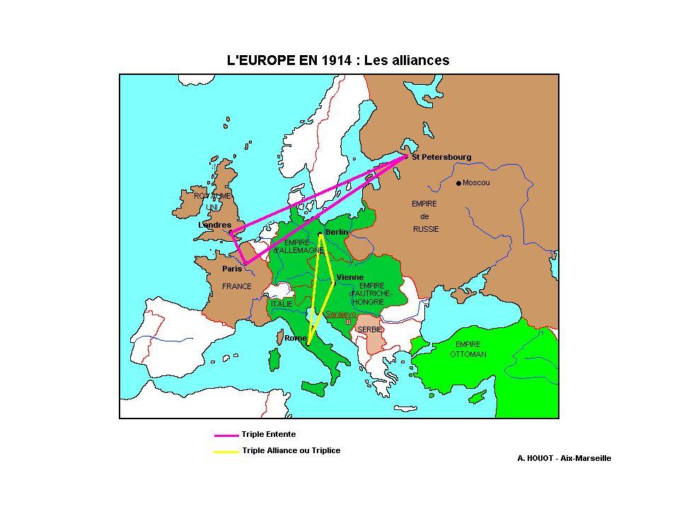 Et la Triple Entente créée en 1907 avec: La France la Grande Bretagne et la Russie
