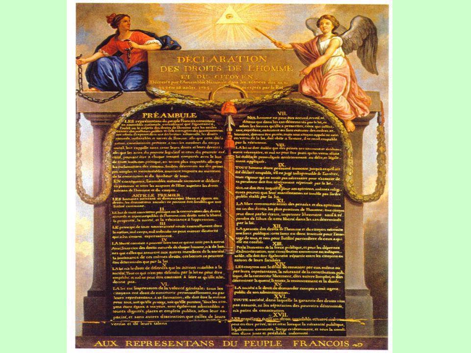 Le 26 août lAssemblée vote LA DECLARATION DES DROITS DE LHOMME ET DU CITOYEN