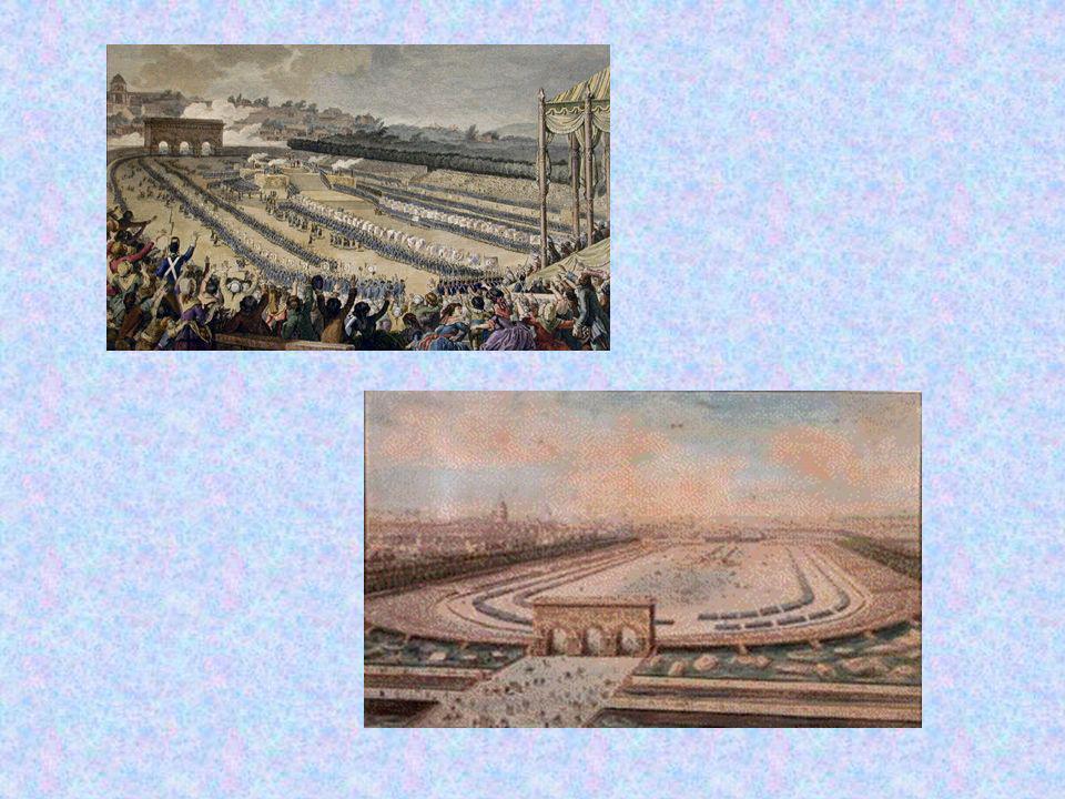 Le 14 juillet 1790, un an après la Prise de la Bastille, il y a une grande Fête de la Fédération sur le Champ de Mars à Paris.