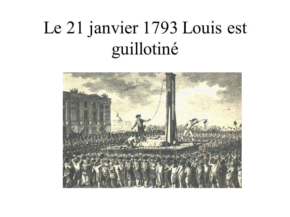 Le 21 janvier 1793 Louis est guillotiné