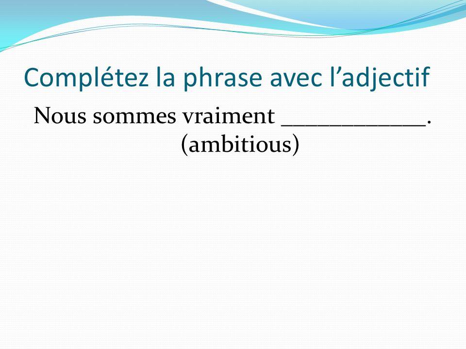 Complétez la phrase avec ladjectif Nous sommes vraiment ____________. (ambitious)