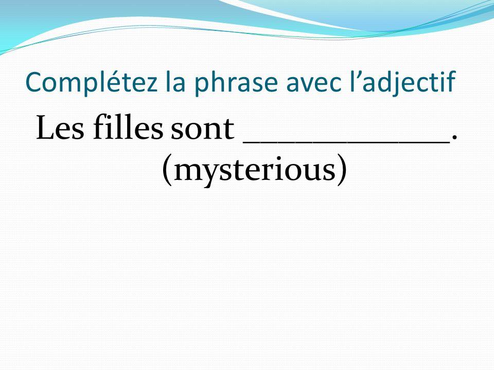 Complétez la phrase avec ladjectif Les filles sont ____________. (mysterious)