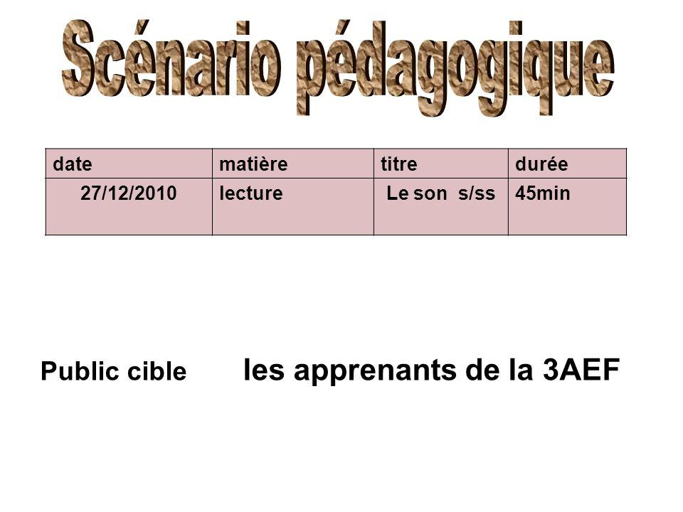 datematièretitredurée 27/12/2010lectureLe son s/ss45min Public cible les apprenants de la 3AEF