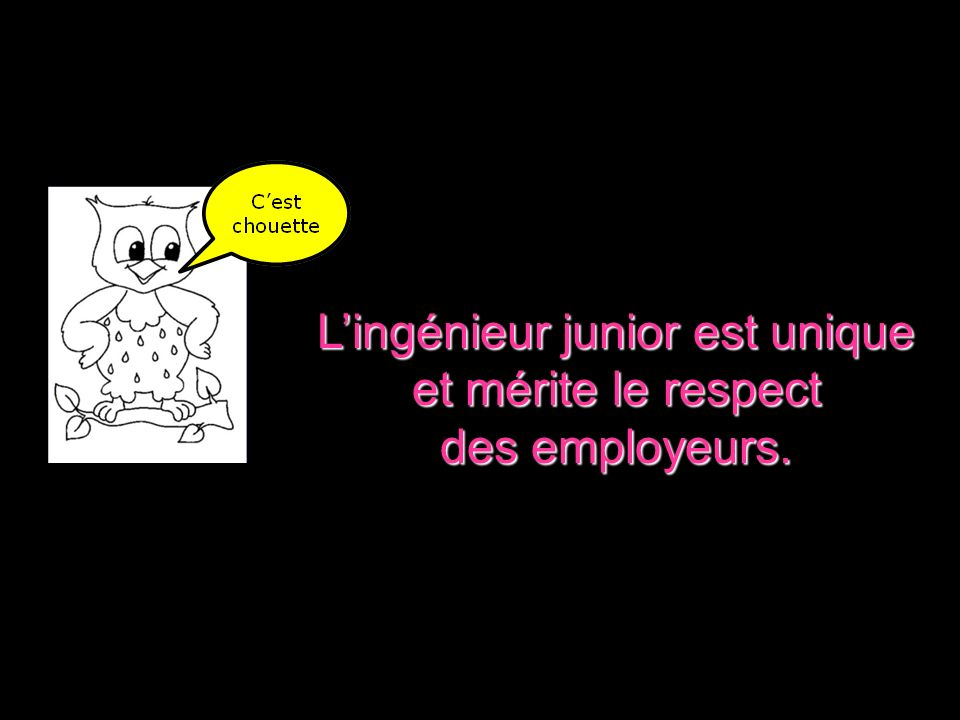 Lingénieur junior est unique et mérite le respect des employeurs.
