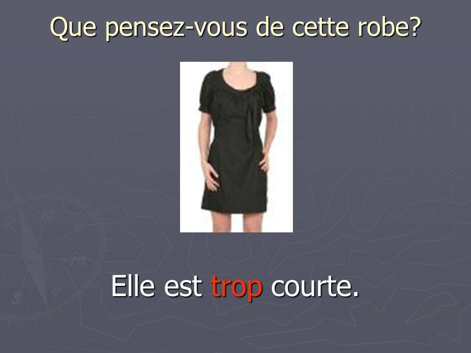 Que pensez-vous de cette robe? Elle est trop courte.