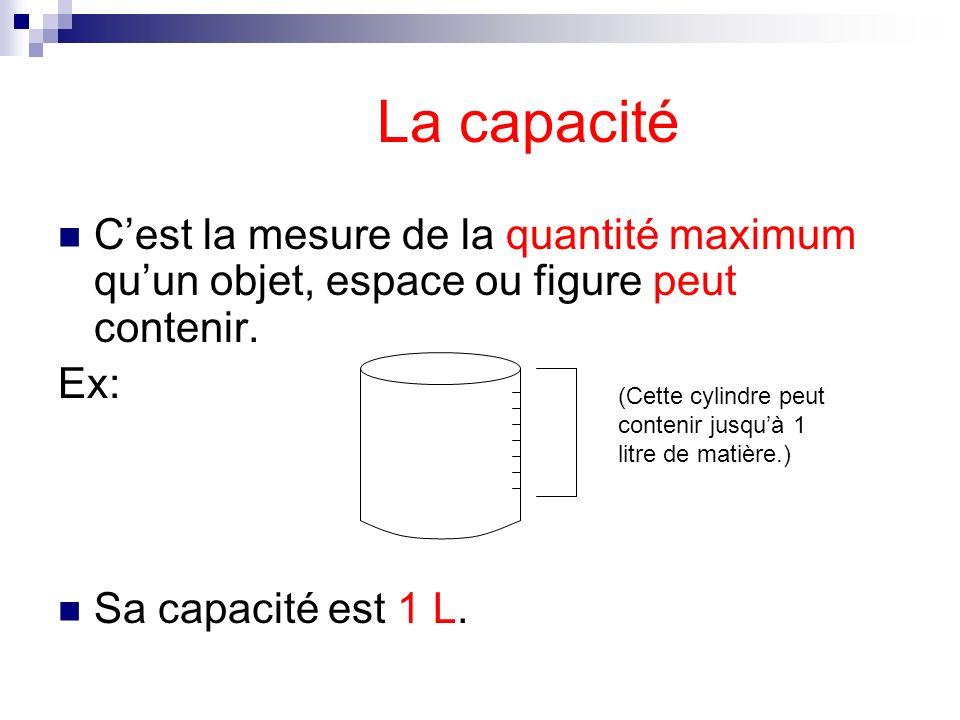 La capacité Cest la mesure de la quantité maximum quun objet, espace ou figure peut contenir. Ex: Sa capacité est 1 L. (Cette cylindre peut contenir j