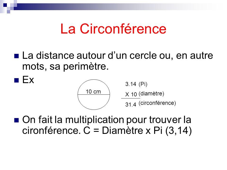 La Circonférence La distance autour dun cercle ou, en autre mots, sa perimètre. Ex On fait la multiplication pour trouver la cironférence. C = Diamètr