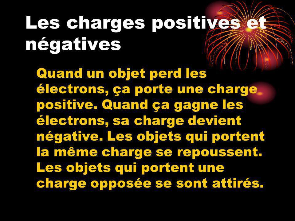 Les charges positives et négatives Quand un objet perd les électrons, ça porte une charge positive. Quand ça gagne les électrons, sa charge devient né