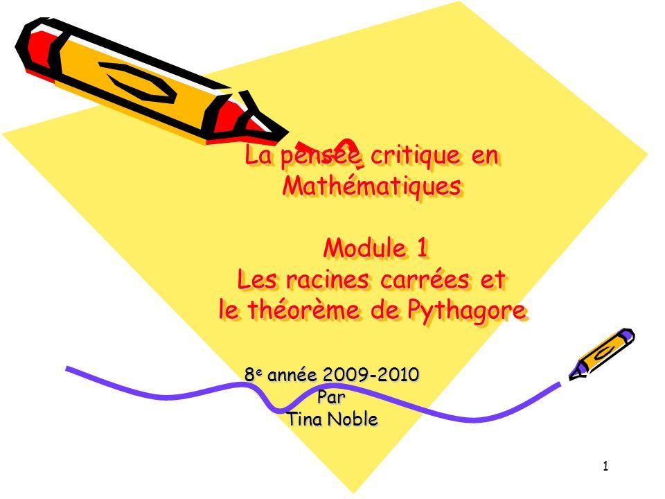 1 La pensée critique en Mathématiques Module 1 Les racines carrées et le théorème de Pythagore 8 e année 2009-2010 Par Tina Noble