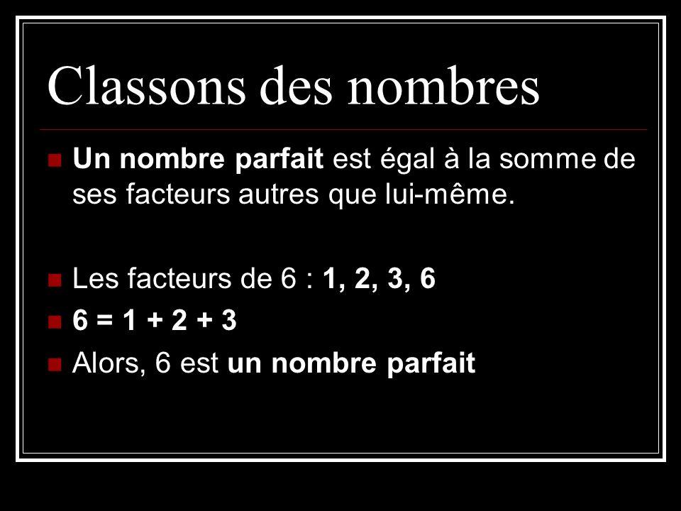 Un nombre parfait est égal à la somme de ses facteurs autres que lui-même. Les facteurs de 6 : 1, 2, 3, 6 6 = 1 + 2 + 3 Alors, 6 est un nombre parfait