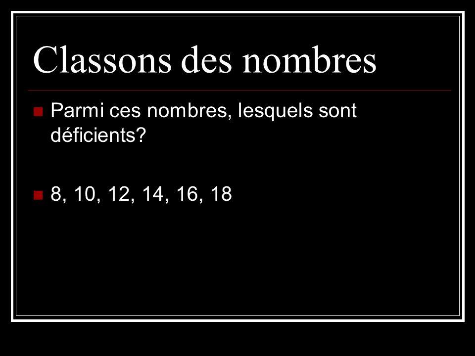 Classons des nombres Parmi ces nombres, lesquels sont déficients? 8, 10, 12, 14, 16, 18