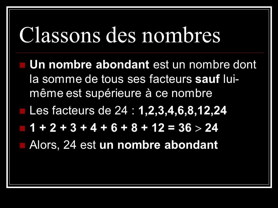 Classons des nombres Un nombre abondant est un nombre dont la somme de tous ses facteurs sauf lui- même est supérieure à ce nombre Les facteurs de 24