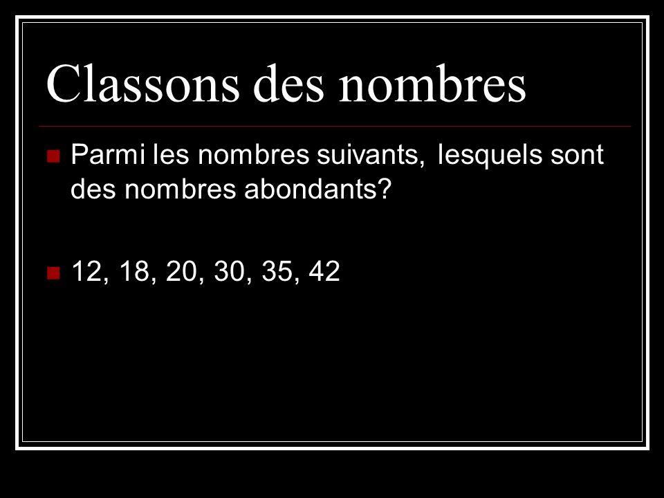 Classons des nombres Parmi les nombres suivants, lesquels sont des nombres abondants? 12, 18, 20, 30, 35, 42