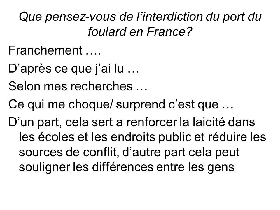 Que pensez-vous de linterdiction du port du foulard en France.