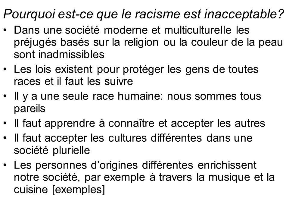 Pourquoi est-ce que le racisme est inacceptable.