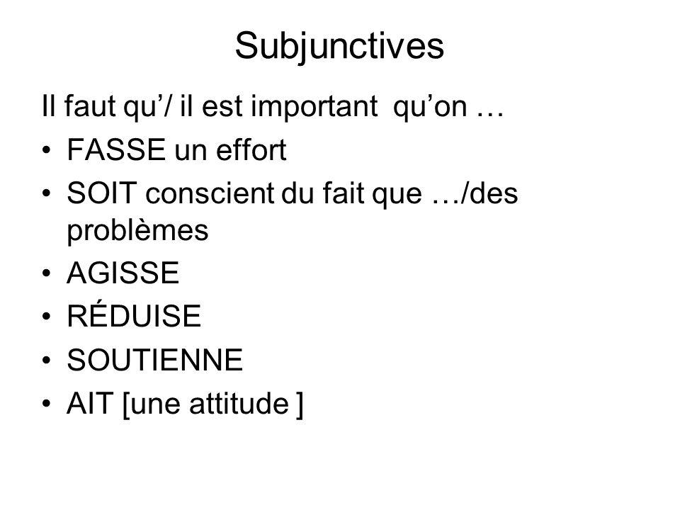 Subjunctives Il faut qu/ il est important quon … FASSE un effort SOIT conscient du fait que …/des problèmes AGISSE RÉDUISE SOUTIENNE AIT [une attitude