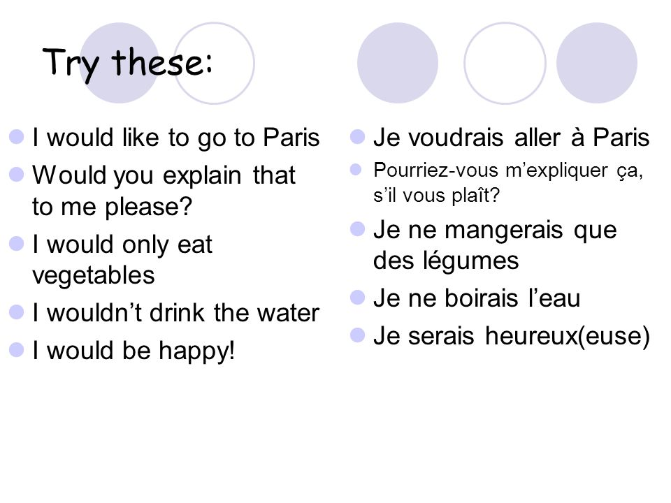 Try these: I would like to go to Paris Would you explain that to me please.