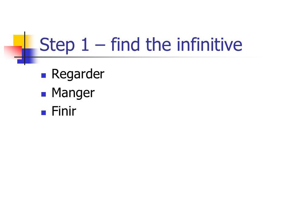 Step 1 – find the infinitive Regarder Manger Finir