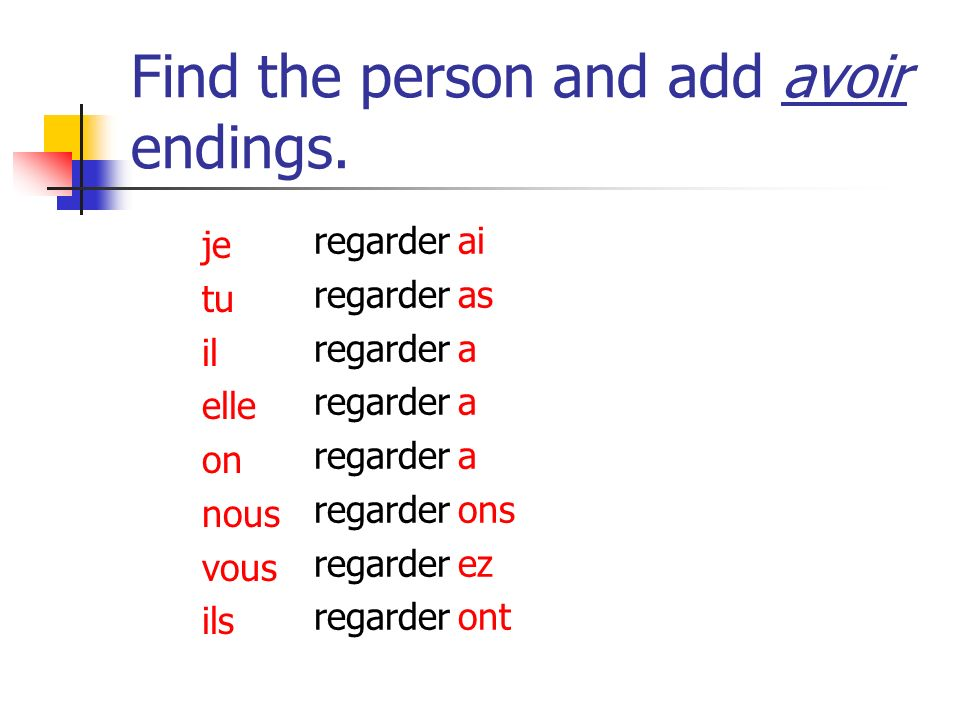 Find the person and add avoir endings. partir ai as a a a ons ez ont je tu il elle on nous vous ils