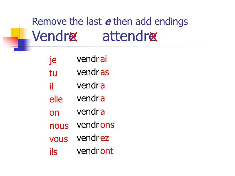 Remove the last e then add endings Vendreattendre vendr ai as a ons ez ont je tu il elle on nous vous ils XX