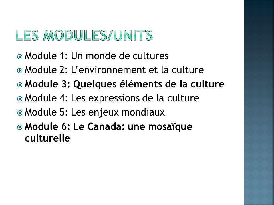 Module 1: Un monde de cultures Module 2: Lenvironnement et la culture Module 3: Quelques éléments de la culture Module 4: Les expressions de la culture Module 5: Les enjeux mondiaux Module 6: Le Canada: une mosaïque culturelle