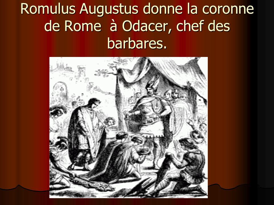 Romulus Augustus donne la coronne de Rome à Odacer, chef des barbares.