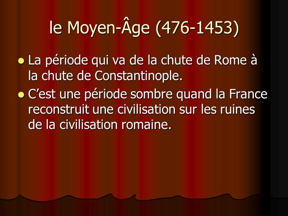 le Moyen-Âge (476-1453) La période qui va de la chute de Rome à la chute de Constantinople. La période qui va de la chute de Rome à la chute de Consta