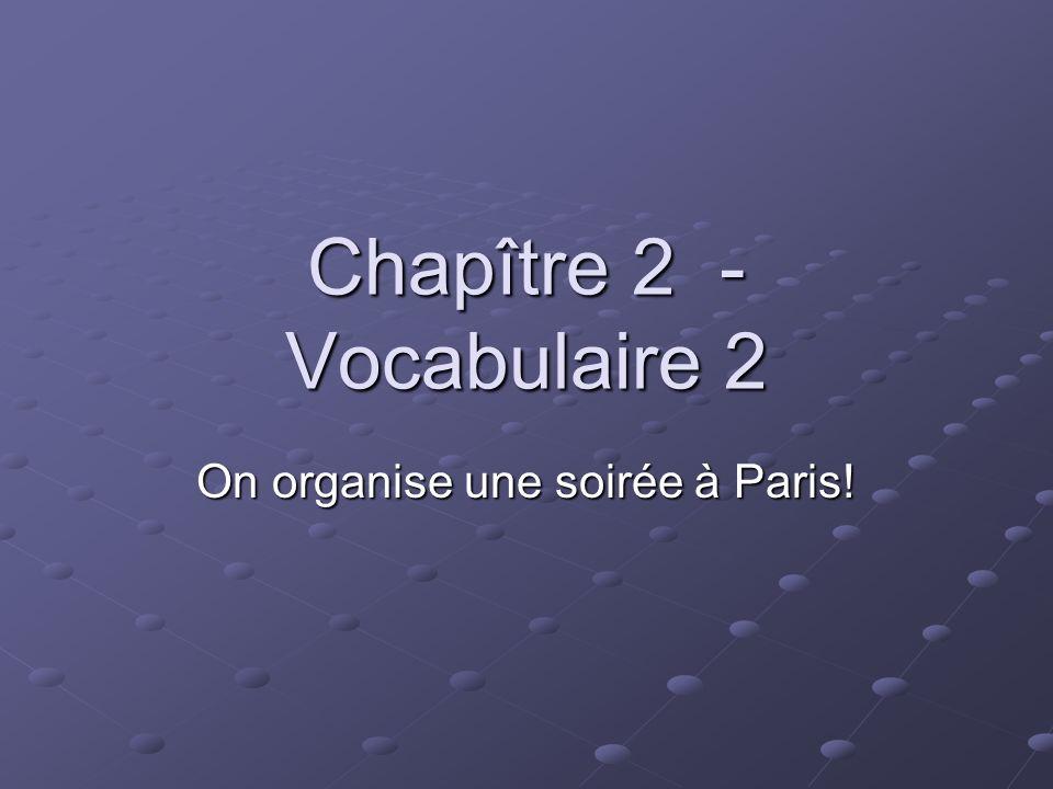 Chapître 2 - Vocabulaire 2 On organise une soirée à Paris!