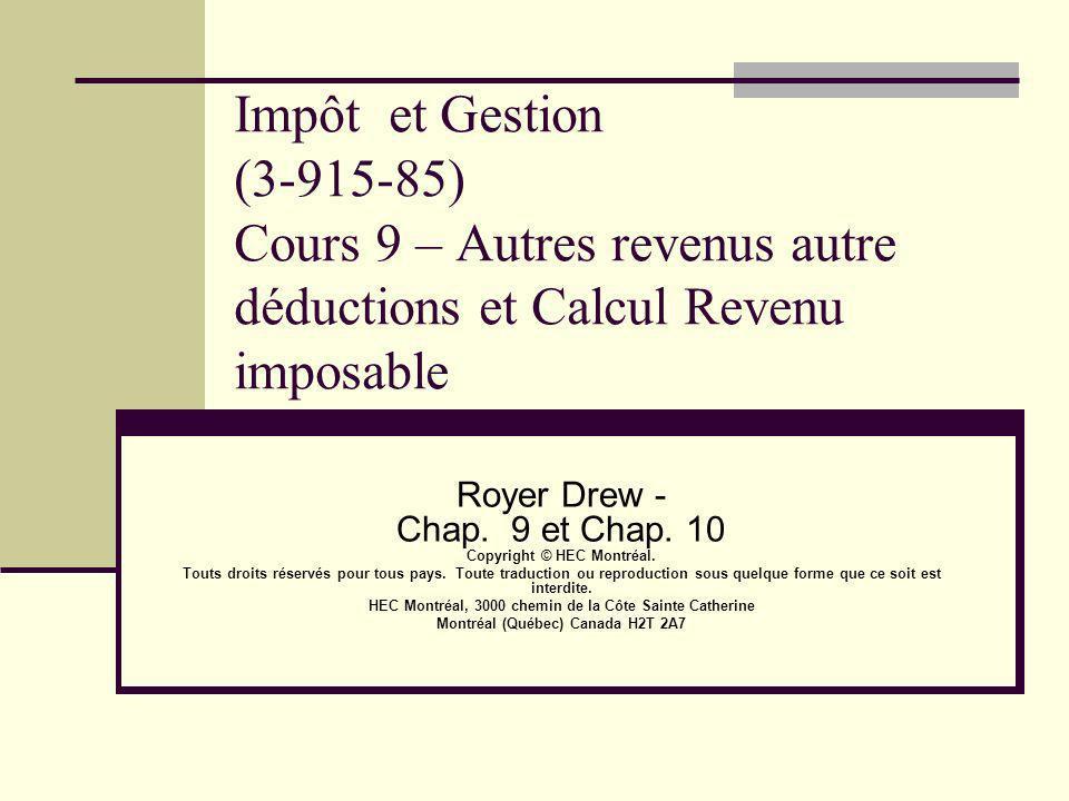 Impôt et Gestion (3-915-85) Cours 9 – Autres revenus autre déductions et Calcul Revenu imposable Royer Drew - Chap. 9 et Chap. 10 Copyright © HEC Mont