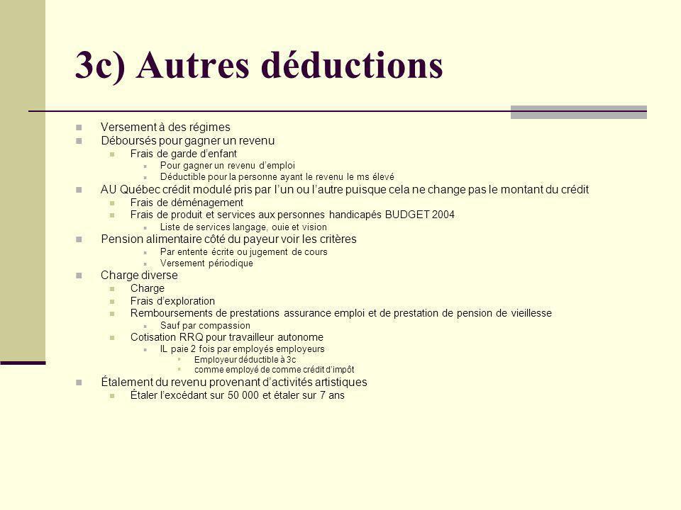 3c) Autres déductions Versement à des régimes Déboursés pour gagner un revenu Frais de garde denfant Pour gagner un revenu demploi Déductible pour la