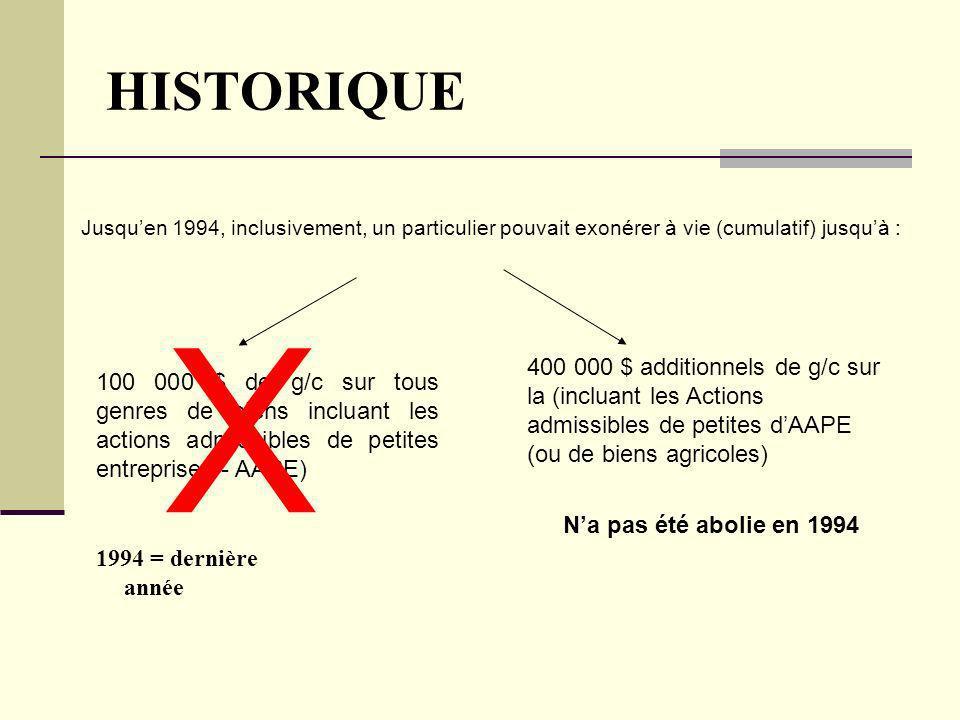 HISTORIQUE Jusquen 1994, inclusivement, un particulier pouvait exonérer à vie (cumulatif) jusquà : 100 000 $ de g/c sur tous genres de biens incluant